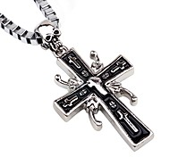 cheap -Men's Cross Skull Pendant Necklace Chain Necklace  -  Hip-Hop European Silver Necklace For Bar Club