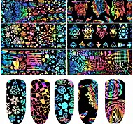 cheap -1 Flower Animal Design Nail Decals Nail Wraps Nail Sticker Multi-colored Nail Art Design Decoration