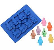 Недорогие -6 отверстий робот форма леденец силиконовая форма желе шоколадное мыло торт плесень дий выпечка украшение