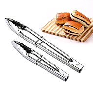 cheap -2pcs Set BBQ Tongs Stainless Steel Barbecue Tongs Buffet Clip Bread Tweezers Kitchen Gadgets