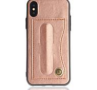 Недорогие -Кейс для Назначение Apple iPhone X iPhone 8 Бумажник для карт со стендом Задняя крышка Сплошной цвет Твердый Искусственная кожа для