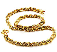 Недорогие -Муж. , Рок Хип-хоп Мода Ожерелья-цепочки , Позолота Титан Сталь Ожерелья-цепочки , Повседневные Для улицы