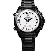 Недорогие -Муж. Модные часы Японский Цифровой Календарь Защита от влаги Хронометр Фосфоресцирующий С двумя часовыми поясами Нержавеющая сталь Группа