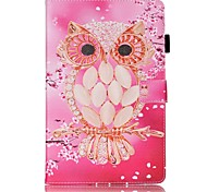 cheap -Case For Samsung Galaxy Tab E 9.6 Card Holder Wallet with Stand Pattern Auto Sleep/Wake Up Full Body Cases Owl Hard PU Leather for Tab E