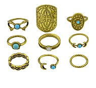 cheap -Women's Imitation Tourmaline / Alloy Moon Knuckle Ring - 9pcs Shield Metallic / Rock Gold / Silver Ring For Club / Street