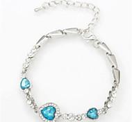 cheap -Women's Rhinestone Crystal Heart Chain Bracelet - Fashion Lovely Geometric Heart White Dark Blue Blue Pink Light Blue Bracelet For Daily