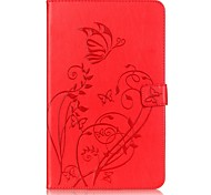 cheap -Case For Samsung Tab A 10.1 (2016) Card Holder Wallet with Stand Embossed Auto Sleep/Wake Up Full Body Cases Flower Hard PU Leather for