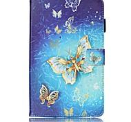Недорогие -Кейс для Назначение SSamsung Galaxy Tab E 8.0 Бумажник для карт Кошелек со стендом С узором Авто Режим сна / Пробуждение Чехол Бабочка