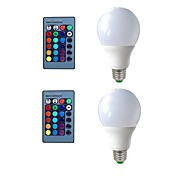 cheap -2pcs 5W 270 lm E26/E27 LED Globe Bulbs 3 leds Decorative Remote-Controlled RGB 200-240V 110-120V 110-130V 220-240V