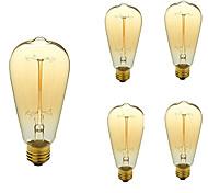 economico -5 pezzi 40W E26/E27 ST64 Bianco caldo 2200-3000 K Retrò Oscurabile Decorativo Incandescente Vintage Edison Lampadina AC 110-130V V