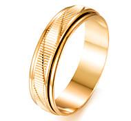 Недорогие -Муж. Позолота Кольцо - Круглый Мода Золотой Кольцо Назначение Подарок / Валентин