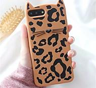 Недорогие -Кейс для Назначение Apple iPhone X iPhone 7 Plus С узором Кейс на заднюю панель Леопардовый принт 3D в мультяшном стиле Мягкий Силикон для