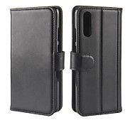 cheap -Case For Huawei P20 lite P20 Plus Card Holder Wallet with Stand Flip Magnetic Full Body Cases Solid Colored Hard Genuine Leather for