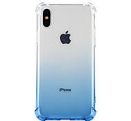 Недорогие -Кейс для Назначение Apple iPhone X iPhone 8 Защита от удара Прозрачный Кейс на заднюю панель Сплошной цвет Мягкий ТПУ для iPhone X iPhone
