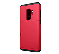 cheap -Case For Samsung Galaxy S9 S9 Plus Card Holder Back Cover Solid Color Hard Plastic for S9 Plus S9 S8 Plus S8