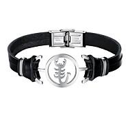 Недорогие -Муж. Кожа Браслет - На каждый день Cool скорпион Черный Браслеты Назначение Повседневные Свидание