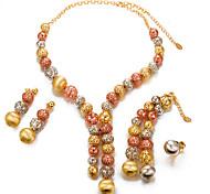 Недорогие -Жен. Жемчуг Позолота Комплект ювелирных изделий 1 ожерелье 1 браслет 1 кольцо Серьги - Массивный Мода Круглый Золотой Набор украшений