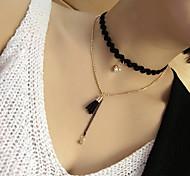 preiswerte -Damen Mehrschichtig Halsketten - Spitze Europäisch, Modisch Schwarz 40 cm Modische Halsketten Für Normal