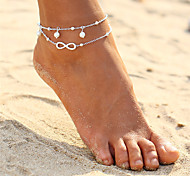 cheap -Double Layered Bohemian Infinity Imitation Pearl Anklet - Women's Gold Silver Double Layered Bohemian Fashion Circle Infinity Alloy Anklet