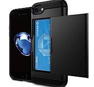 Недорогие -Кейс для Назначение Apple iPhone 6 iPhone 7 Бумажник для карт Кейс на заднюю панель Однотонный Твердый ПК для iPhone X iPhone 8 Pluss
