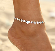cheap -Bohemian Bikini Heart , Anklet - Women's Gold Silver Bohemian Fashion Bikini Circle Heart Alloy Anklet For Gift Evening Party