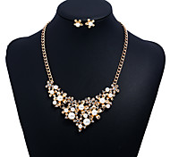 cheap -Women's Cubic Zirconia / Imitation Pearl Imitation Pearl / Zircon Floral Flower Jewelry Set 1 Necklace / Earrings - Floral / Sweet Gold