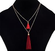 preiswerte -Damen Mehrschichtig Layered Ketten - Einfach Regenbogen, Rot, Blau 40+5 cm Modische Halsketten Für Alltag, Ausgehen