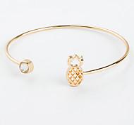 cheap -Women's Cubic Zirconia Zircon Lovely Pineapple 1pc Cuff Bracelet - Fashion Gold Black Silver Bracelet For Club Going out