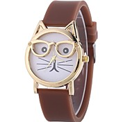 cheap -Women's Quartz Bracelet Watch Chinese Casual Watch Silicone Band Casual Cat Black White Blue Red Brown Pink Sky Blue
