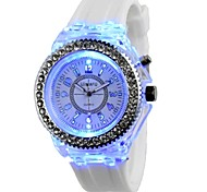 cheap -Women's Quartz Chinese Chronograph / Creative / Large Dial / Noctilucent / Luminous Silicone Band Sparkle Black / White / Orange / Pink /