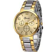 Недорогие -Муж. Кварцевый Нарядные часы Китайский Секундомер Нержавеющая сталь Группа Мода Серебристый металл Золотистый