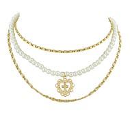 preiswerte -Layered Ketten - Blume Gold 40 cm Modische Halsketten Für Party / Abend, Schultaschen