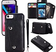 cheap -Case For Apple iPhone X iPhone 8 Card Holder Wallet Flip Magnetic Full Body Cases Solid Colored Hard Genuine Leather for iPhone X iPhone