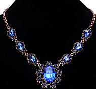 cheap -Women's Sunflower Flower Crystal Statement Necklace  -  Fashion Light Blue Dark Gray Royal Blue Necklace For Party Special Occasion