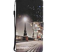 Недорогие -Кейс для Назначение SSamsung Galaxy Note 8 Бумажник для карт со стендом Флип С узором Чехол Вид на город Эйфелева башня Твердый Кожа PU