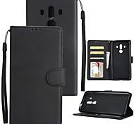 Недорогие -Кейс для Назначение Huawei Mate 10 Mate 10 pro Бумажник для карт Кошелек Защита от удара Флип Чехол Однотонный Твердый Кожа PU для Mate