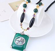cheap -Geometric / Long Pendant Necklace - Resin Vintage, European, Fashion Dark Green 78 cm Necklace For Daily