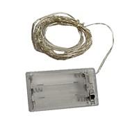 Недорогие -6м Гирлянды 60 светодиоды SMD 0603 Тёплый белый / Разные цвета Декоративная Аккумуляторы AA 1шт / IP44