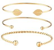 Недорогие -Браслет разомкнутое кольцо - В форме листа Мода Браслеты Золотой Назначение Повседневные / Для улицы