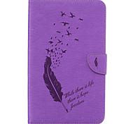Недорогие -Кейс для Назначение SSamsung Galaxy Tab E 8.0 Бумажник для карт Кошелек со стендом С узором Авто Режим сна / Пробуждение Чехол Перья