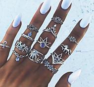 Недорогие -Кольцо на кончик пальца / Ring Set - Сплав Цветы Винтаж, европейский, Мода 7 Серебряный Назначение Для вечеринок / Повседневные