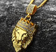 baratos -Homens Colares com Pendentes  -  Banhado a Ouro 18K, Imitações de Diamante Leão, Animal, Coroa Personalizada, Rock, Hip-Hop Dourado Colar Para Festa, Presente, Diário