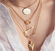 cheap -Women's Thick Chain Chain Necklace / Layered Necklace  -  Angel Wings Fashion, Statement, Disco Gold 39 cm Necklace 4pcs For Holiday, Going out