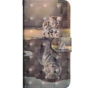 Недорогие -Кейс для Назначение Apple iPhone X / iPhone 8 Plus Кошелек / Бумажник для карт / со стендом Чехол Кот Твердый Кожа PU для iPhone X /