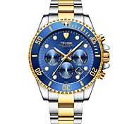cheap -Tevise Men's Mechanical Watch Japanese Automatic self-winding Stainless Steel Silver / Gold 30 m Water Resistant / Waterproof Calendar / date / day Noctilucent Analog Luxury Fashion - Green Blue