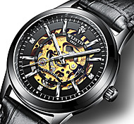 cheap -Men's Mechanical Watch Mechanical manual-winding Genuine Leather Black / Brown 30 m Water Resistant / Waterproof Hollow Engraving Noctilucent Analog Luxury Fashion - Silver / Black Golden+White Rose