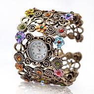Dames Modieus horloge Armbandhorloge Kwarts Legering Band Vintage Bloem Bangle armband Elegante horloges Brons