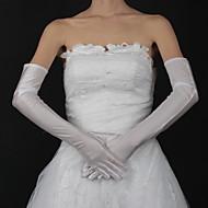 Недорогие Перчатки и рукавицы-Сатин Хлопок До запястья До плеча Перчатка Кулоны Свадебные перчатки With Вышивка