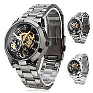 저렴한 -SHENHUA 남성용 손목 시계 기계식 시계 오토메틱 셀프-윈딩 중공 판화 스테인레스 스틸 밴드 럭셔리 블랙 실버