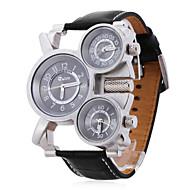 Недорогие Фирменные часы-Oulm Муж. Армейские часы Наручные часы Кварцевый Японский кварц С тремя часовыми поясами Кожа Группа Аналоговый Черный - Черно-белый Два года Срок службы батареи / SOXEY SR626SW